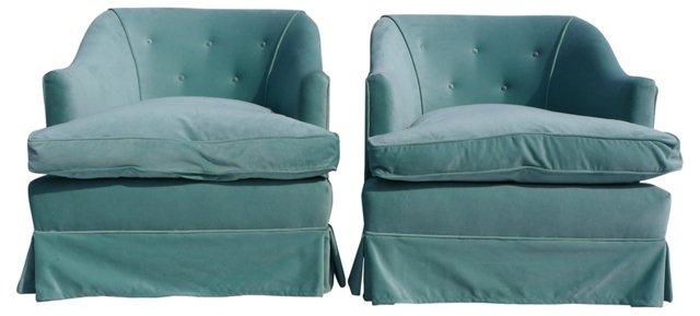 Velvet Swivel Club Chairs, Pair