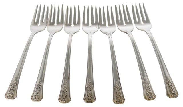Art Deco Rose Silver Forks, S/7