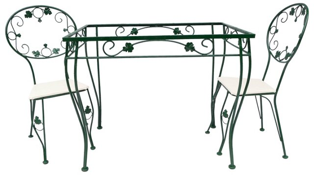Iron Garden Table & 2 Chairs