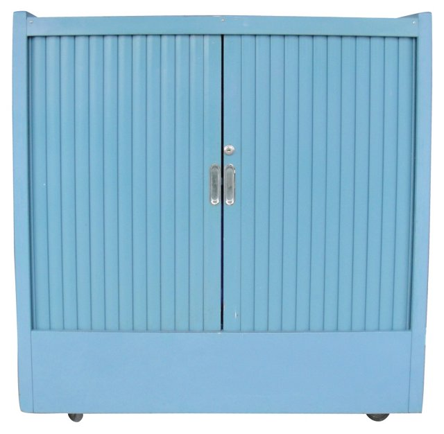 Blue Tambour Rolling Cabinet
