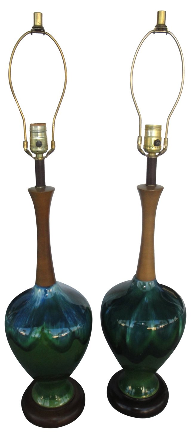 Blue & Green Lamps, Pair