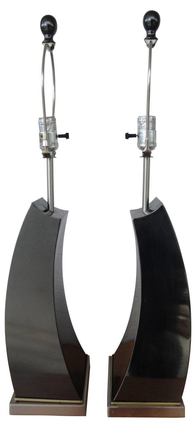 1970s Steel Lamps, Pair