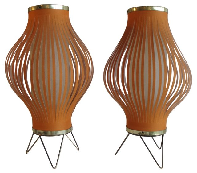 1950s Atomic Lamps, Pair