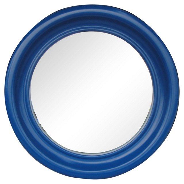 Round Blue-Framed Mirror
