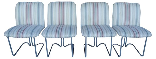 1970s  Chrome Dining Chairs, S/4