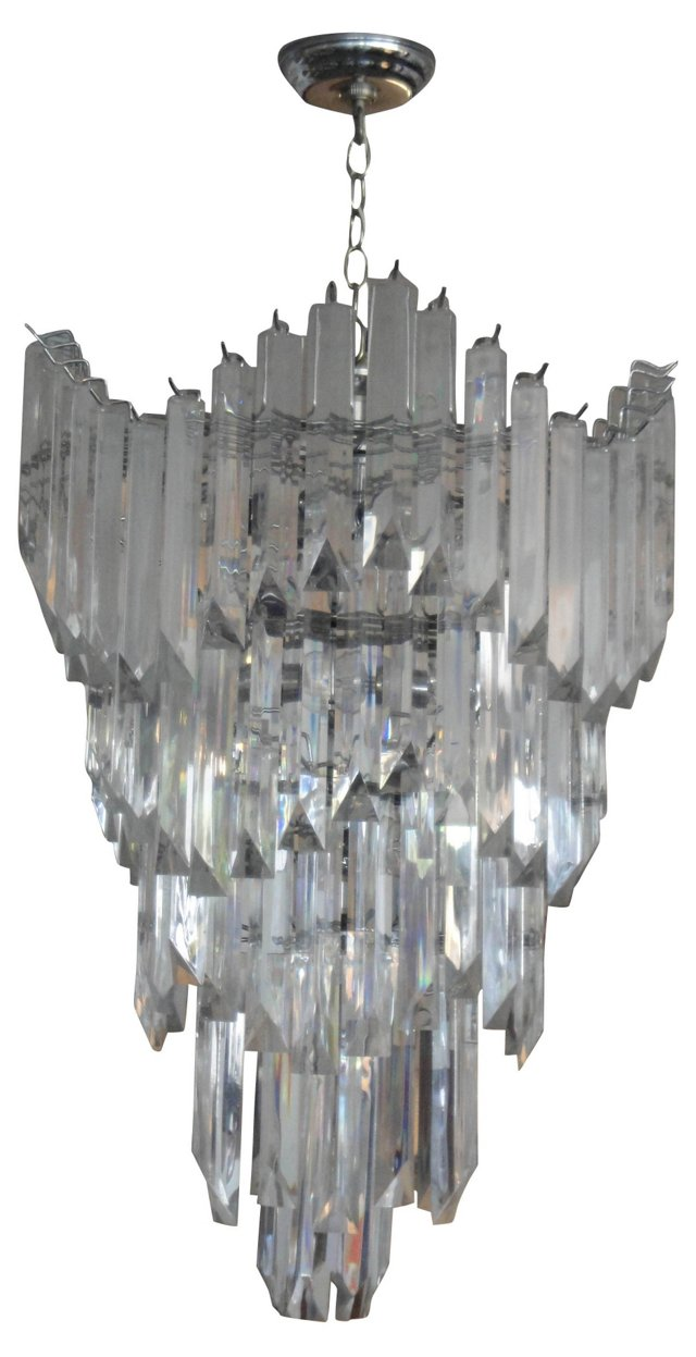 Chrome & Lucite Chandelier