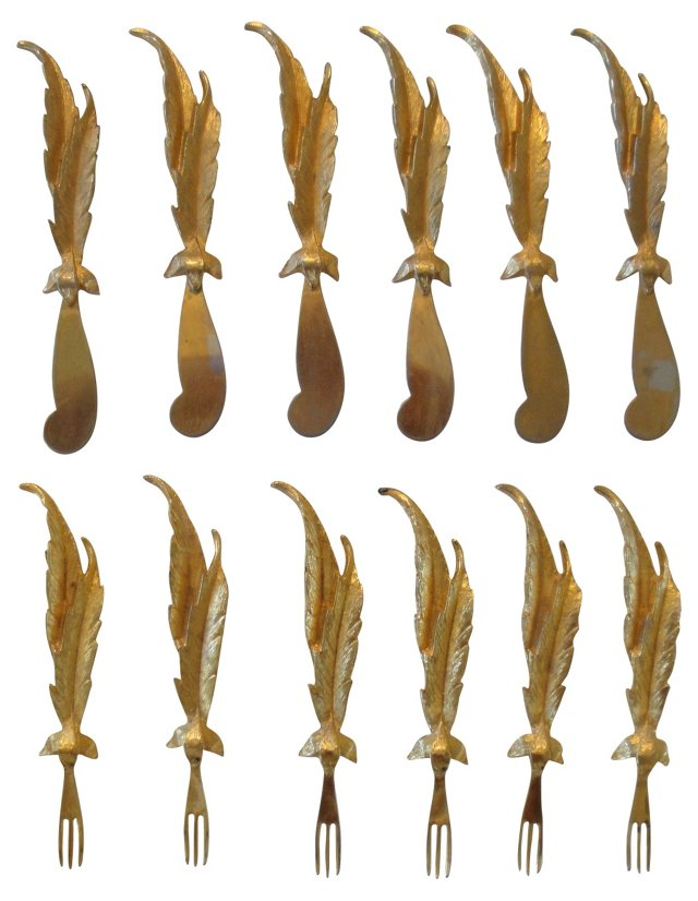 Gold-Plated Knives & Forks, S/12