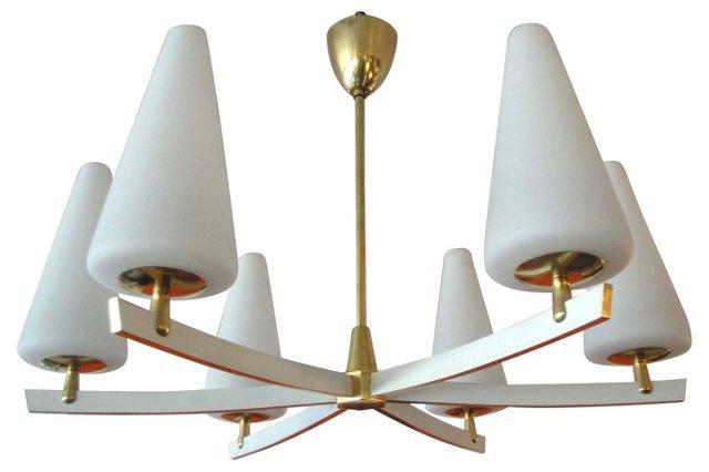 Italian Brass & Glass Chandelier