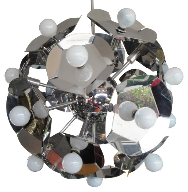 Italian Chrome Sputnik Chandelier