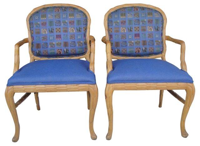 Blue Armchairs, Pair