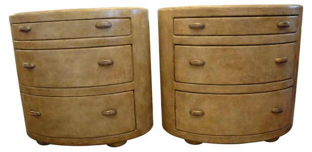 Leather Oval Dressers, Pair