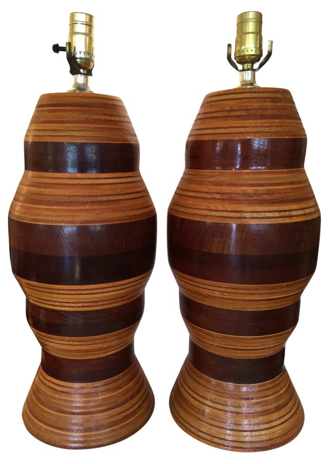 Two-Color Wood Lamps, Pair