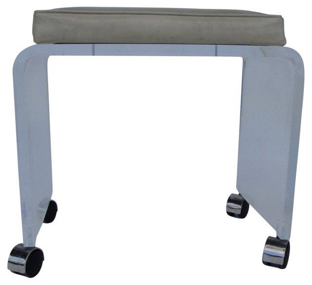 Beige Cushion & Lucite Bench