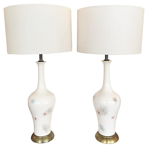 Ceramic Flowers Table Lamps, S/2