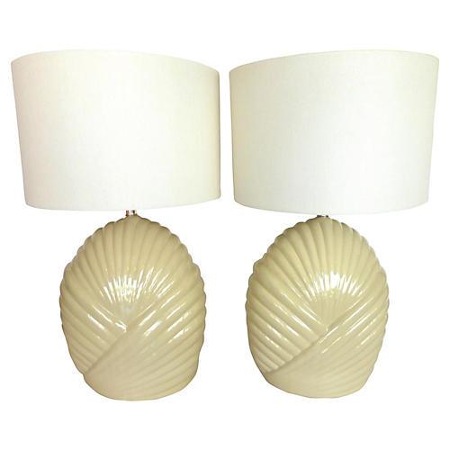 Midcentury Ceramic Table Lamps, Pair