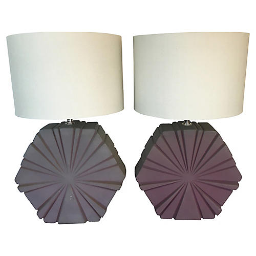 Midcentury Ceramic Table Lamps, Pair