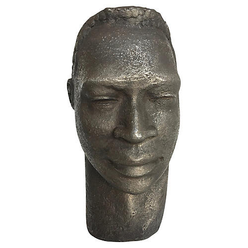 Spelter Man's Head Sculpture