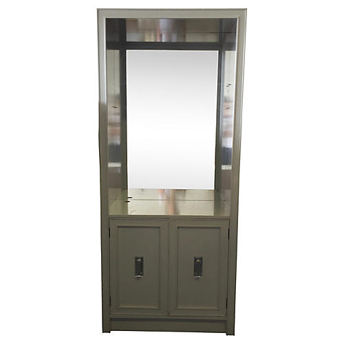 Tall Gray Cabinet w/ Lucite Handles