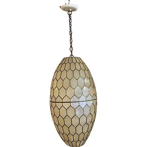 Capiz Shell & Brass Pendant