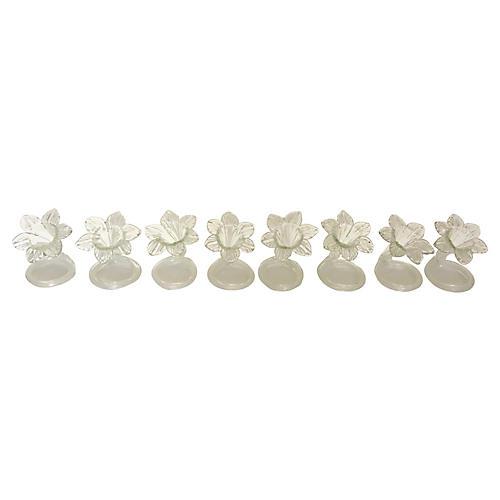 Glass Flower Napkin Rings, S/8