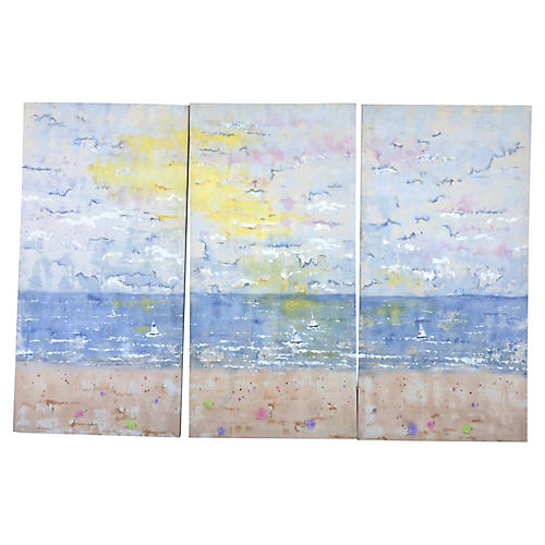 Sailboats & Beach Triptych
