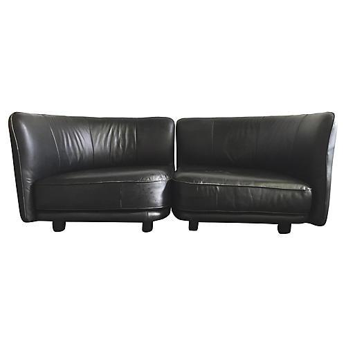 1980s Round Leather Sofa Set, 2 Pcs