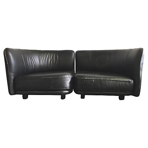 1980s Round Leather Sofa Set, 2 Pcs