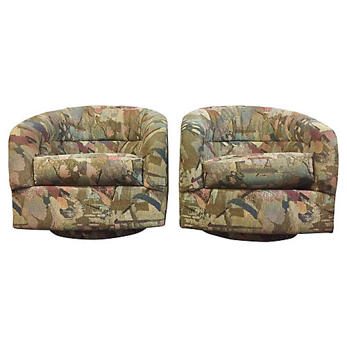 Abstract Pattern Swivel Chairs, S/2