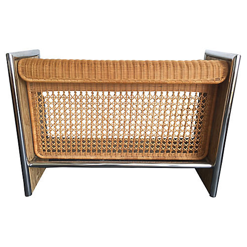 1970s Chrome, Faux-Wood & Rattan Bar