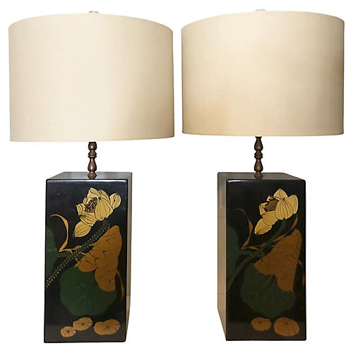 Square Floral Table Lamps, S/2