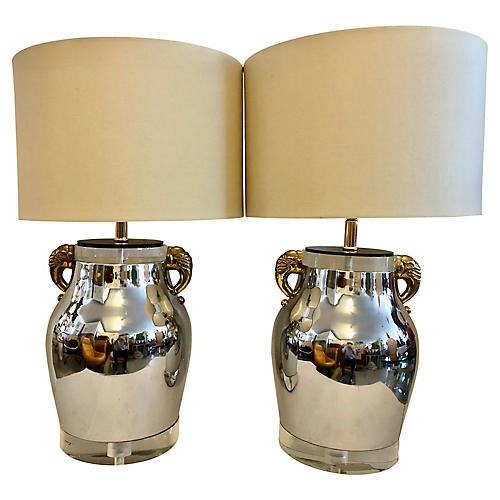 Bauer Lucite & Chrome Table Lamps, Pair