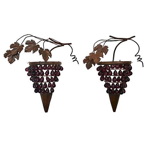 Italian Glass & Iron Grape Wall Art, S/2