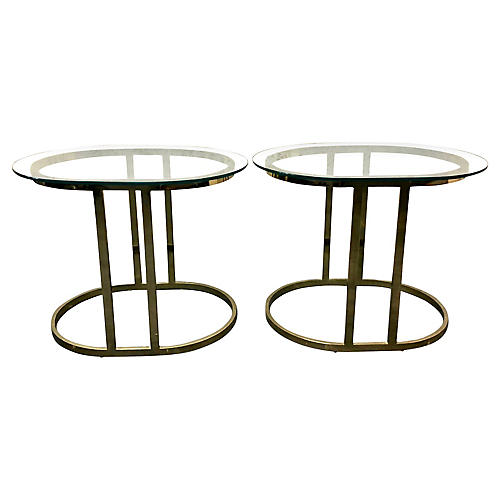 Oval Glass & Brass Side Tables, Pair