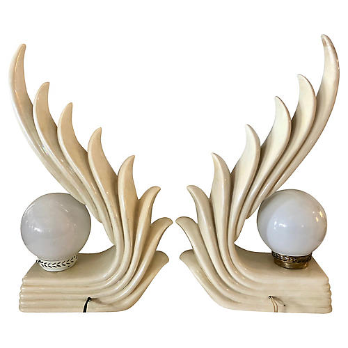 1980s Sculptural Table Lamps, Pair