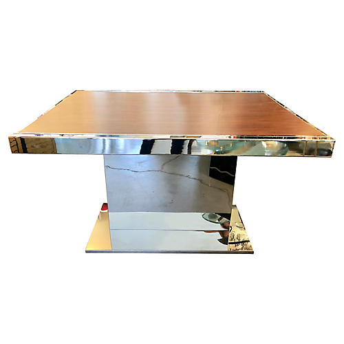 Chrome & Wood Extendable Dining Table