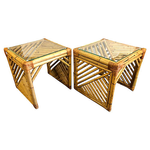 Cubic Bamboo Side Tables, Pair