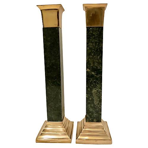 Marble & Brass Candlesticks, S/2