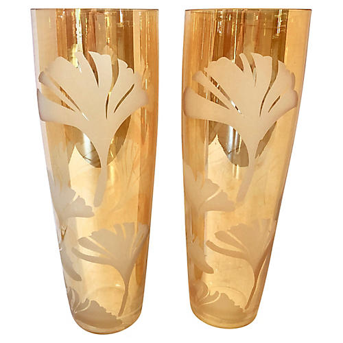 Etched Glass Vases, Pair
