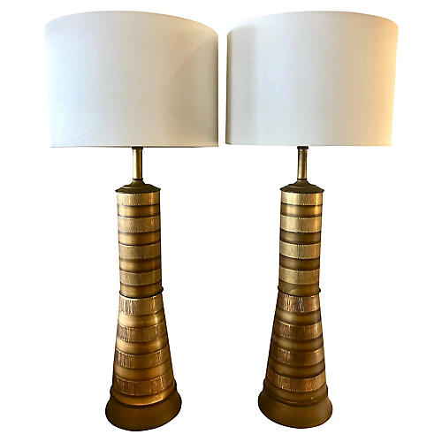 Midcentury Hourglass Lamps, Pair