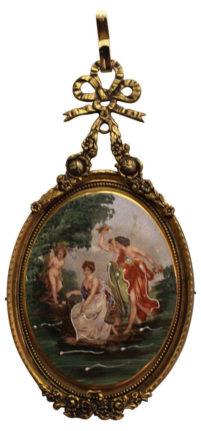 Hand-Painted Italian Medallion