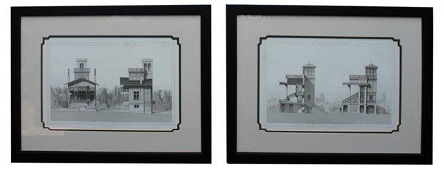 Paris Engravings, Pair