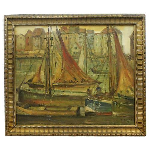 Harbor Scene by R.Clarot