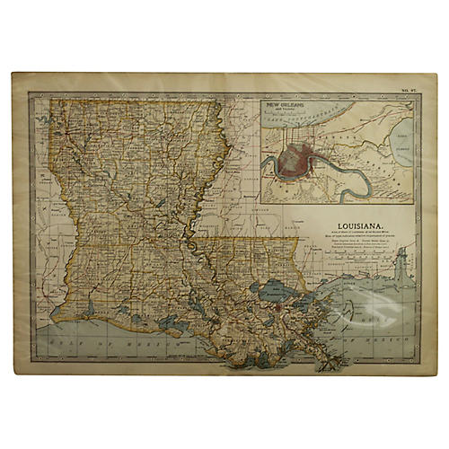 Antique Map of Louisiana