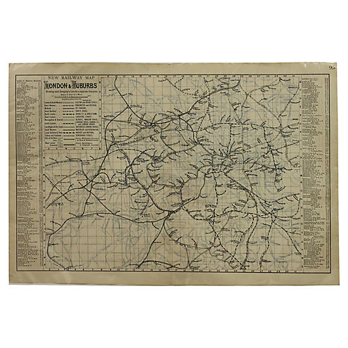 Antique Railroad Map of London