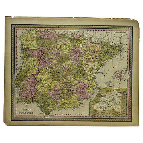 Antique Map of Spain & Portugal