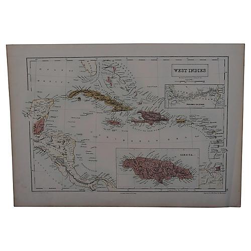 Antique Map of West Indies