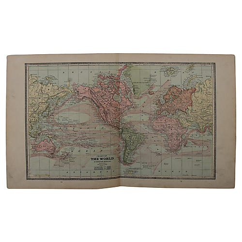 Antique World Map by G. Cram