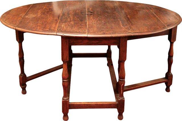 18th-C. English Oak Gate-Leg Table