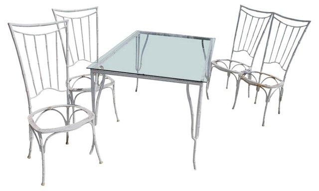 Bamboo-Style Dining Set, 5 Pcs