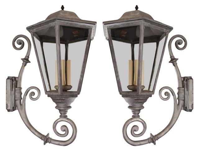 Outdoor Lantern Sconces, Pair